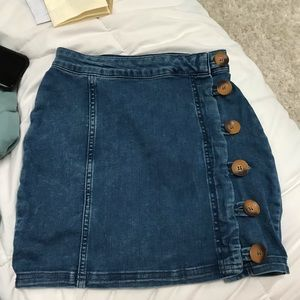 Free people button up denim pencil skirt size 0